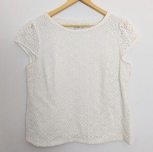 Boden White Lace Cap-Sleeve Blouse Plus Size 14